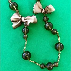 J.Crew Bead & Bow Gold Necklace